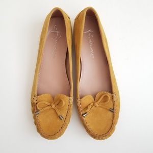 B. Makowsky Suede Loafer Mustard Yellow